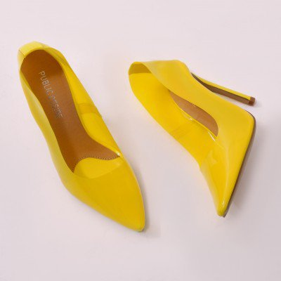 Extra Clear Perspex Heels in Yellow | Public Desire US