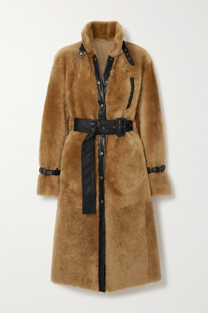 Campioni Belted Leather-trimmed Shearling Coat - Brown