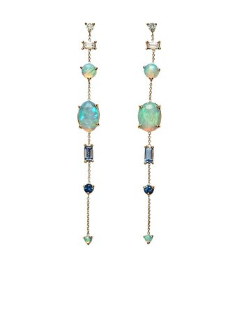 WWAKE 14kt Yellow Gold Multi Gemstone Chain Earrings - Farfetch