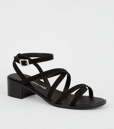 Wide Fit Black Suedette Strappy Low Heel Sandals | New Look