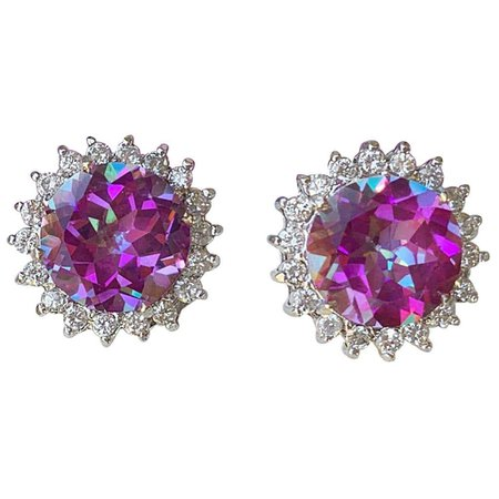 Dazzling Vivid Pink Mystic Topaz Diamond Halo White Gold Earrings For Sale at 1stDibs