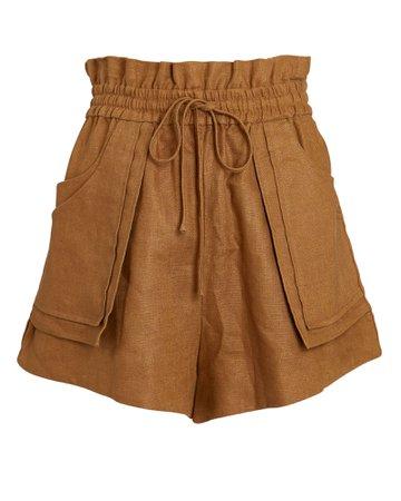 Shona Joy Lucille Paperbag Linen Shorts | INTERMIX®