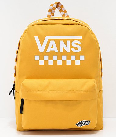 Vans Sporty Realm Yellow Checkerboard Backpack | Zumiez