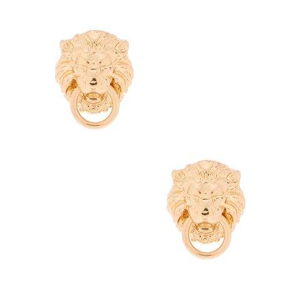 Gold Lion Door Knocker Stud Earrings   Claire's
