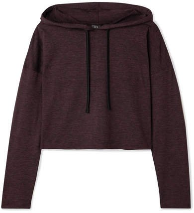 We/Me - The Zen Cropped Stretch-jersey Hoodie - Merlot