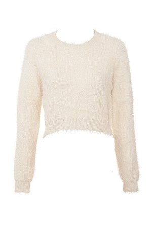 Clothing : Tops : 'Noemie' Cream Cropped Soft Mohair Sweater