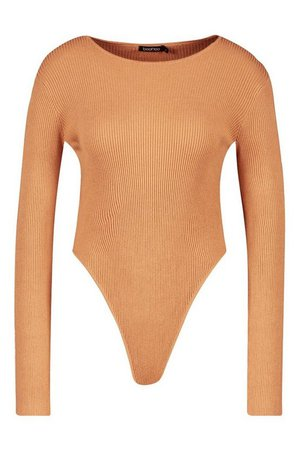 Rib Knit Long Sleeve Knitted Bodysuit | boohoo