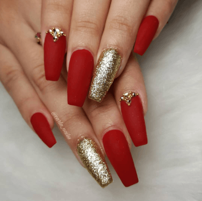 Red & Gold Nails