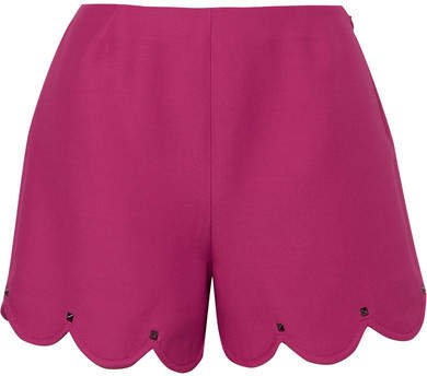 Studded Scalloped Wool And Silk-blend Crepe Shorts - Bright pink