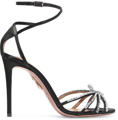 Spider Crystal-embellished Satin Sandals - Black