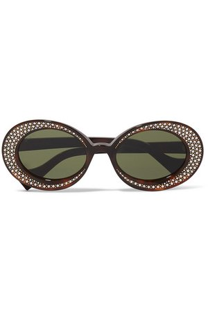 Gucci | Crystal-embellished round-frame tortoiseshell acetate sunglasses | NET-A-PORTER.COM