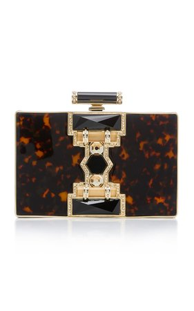 Ridget Rectangle Resin, Crystal and Brass Clutch by Judith Leiber Couture | Moda Operandi