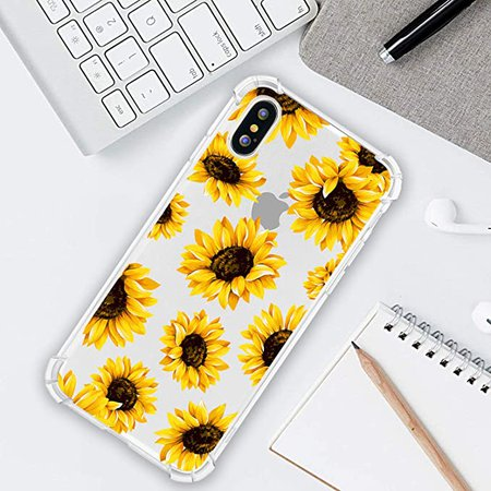 Amazon.com: Hi Space Flower Clear Case for iPhone Xs iPhone X, Sunflower Girls and Women Floral Back Cover, Flexible TPU Bumper Shockproof Transparent Protective Case: Electronics