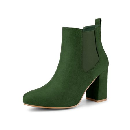 Allegra K - Women's Round Toe Chunky Heels Chelsea Ankle Boots Green 9 - Walmart.com - Walmart.com