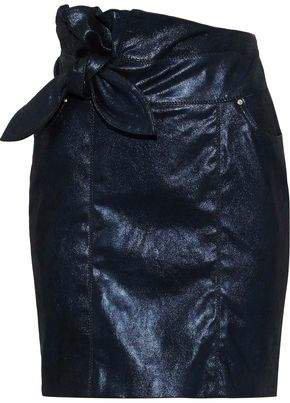 Knotted Leather Mini Skirt