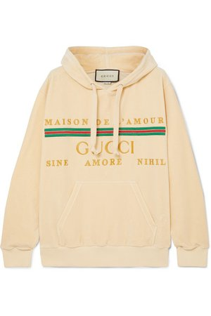 Gucci | Oversized embroidered cotton-blend velour hoodie | NET-A-PORTER.COM