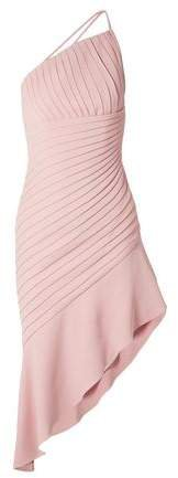 Asymmetric Pleated Stretch-crepe Mini Dress