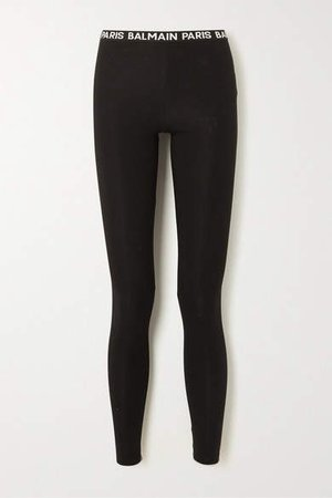 Stretch-cotton Leggings - Black