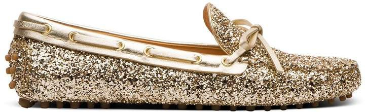 Metallic-Effect Driving Loafers