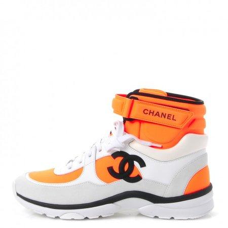 CHANEL Suede Calfskin Lambskin Neoprene High Top CC Sneakers 38.5 White Fluo Orange 246055