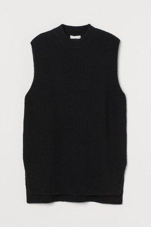 Rib-knit Sweater Vest - Black - Ladies | H&M US