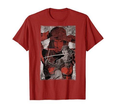 Amazon.com: Marvel Elektra Double-Exposed Redness Grungy T-Shirt: Clothing