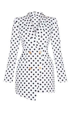 White Polkadot Gold Button Blazer Dress | PrettyLittleThing