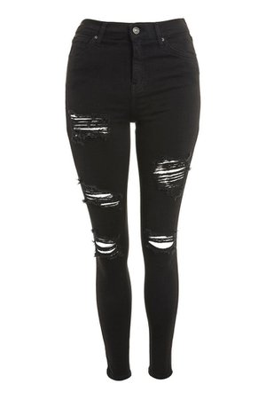 Washed Black Super Ripped Jamie Jeans | Topshop