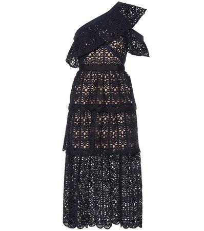 One-Shoulder Crochet Midi Dress - Self-Portrait   mytheresa