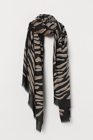 Zebra-print Scarf - Black/zebra print - Ladies | H&M US