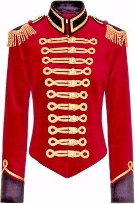 Red & Black Velvet Military Jacket