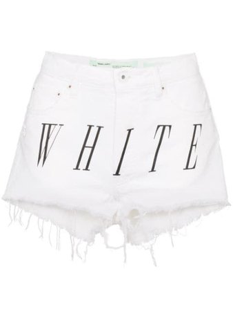 Off-White logo-print distressed denim shorts $268 - Buy Online SS19 - Quick Shipping, Price