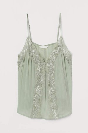 Camisole Top with Lace - Green