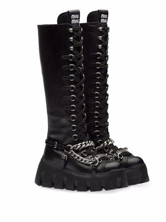 Miu Miu chain-detail lace-up boots - FARFETCH