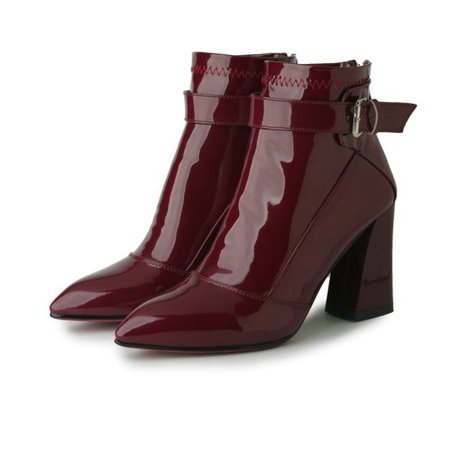 Patent Leather Block Heel Ankle Boots (2 Colors) – Mary Cheffer
