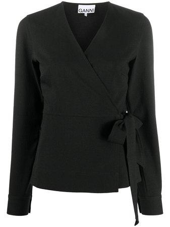 GANNI wrap-front tie-side Blouse - Farfetch