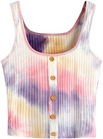 SweatyRocks Women's Sleeveless Vest Button Front Crop Tank Top Ribbed Knit Belly Shirt Tie Dye-5 XXL at Amazon Women's Clothing store