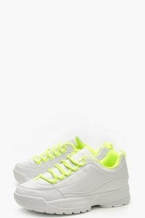 Neon Chunky Sole Trainers | Boohoo