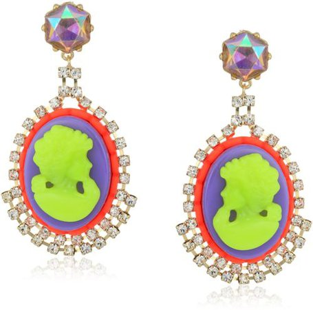 Betsey Johnson Womens Granny Chic Colorful Cameo Drop Earrings Multi One Size 889295264362 | eBay