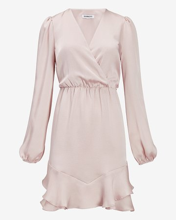 Satin Ruffle Hem Wrap Front Dress | Express