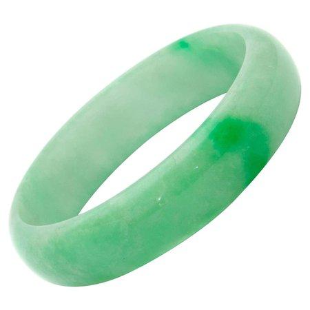 Vintage Green And White Mottled Natural Jadeite Jade Bangle Bracelet