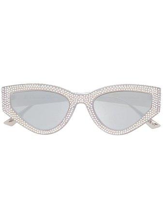 Dior Eyewear Crystal Detail Cat Eye Sunglasses - Farfetch