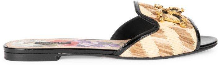 Raffia & Patent Leather Flat Sandals