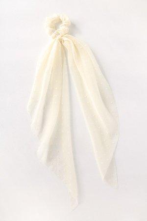 White Ponytail Holder - Scarf Ponytail Holder - Scrunchie