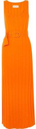 Harlow Belted Ribbed Organic Cotton Maxi Dress - Orange