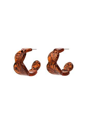 Valet Studio Lea Open Hoop Earrings 250109C Brown | Farfetch