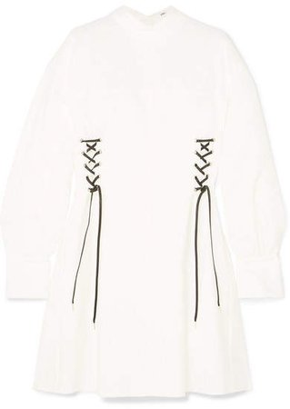 ADEAM - Reversible Lace-up Cotton-blend Mini Dress - White