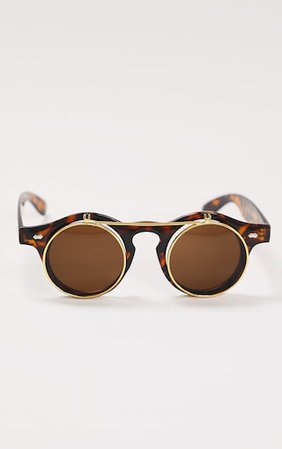 Brown Toirtoise Slip Up Lens Round Sunglasses | PrettyLittleThing