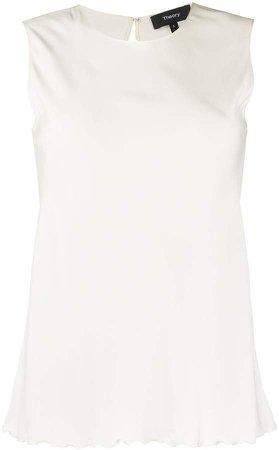 scalloped hem sleeveless blouse