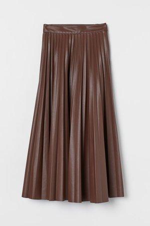 Pleated Skirt - Dark brown - Ladies | H&M US